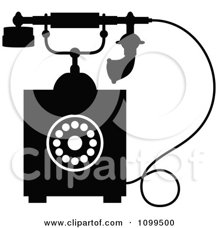 Clipart Retro Black And White Desk Telephone 4 - Royalty Free Vector Illustration by Vector Tradition SM