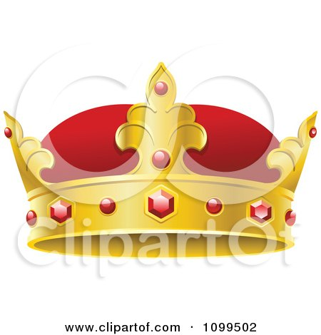 Clipart 3d Red And Gold Kings Crown With Rubies - Royalty Free Vector Illustration by Vector Tradition SM