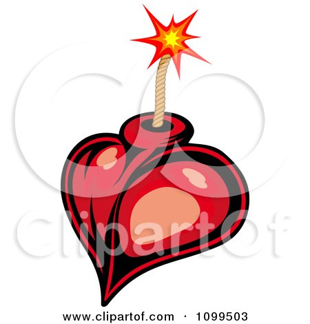 Clipart Red Heart Bomb And Lit Fuse - Royalty Free Vector Illustration by Vector Tradition SM
