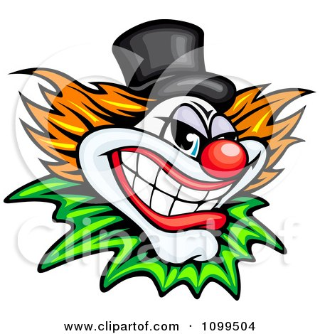 Clipart Grinning Evil Clown Or Joker With A Top Hat - Royalty Free Vector Illustration by Vector Tradition SM