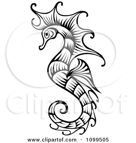 Clipart Ornate Black And White Seahorse - Royalty Free Vector Illustration by Vector Tradition SM