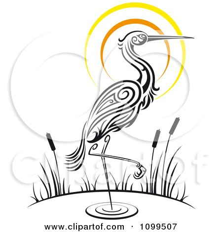 Clipart Wading Tribal Crane And Sunset - Royalty Free Vector Illustration by Vector Tradition SM