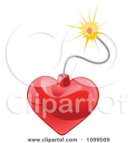 Clipart Shiny Heart Bomb And Lit Fuse - Royalty Free Vector Illustration by Vector Tradition SM