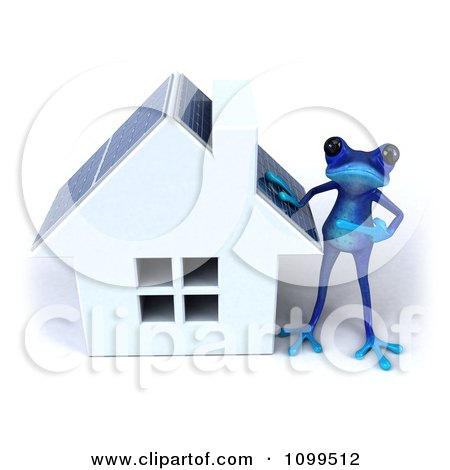 Clipart 3d Blue Springer Frog Standing By A Solar Panel Roof House - Royalty Free CGI Illustration by Julos