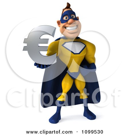 Clipart 3d Male Super Hero Holding A Euro Symbol 1 - Royalty Free CGI Illustration by Julos