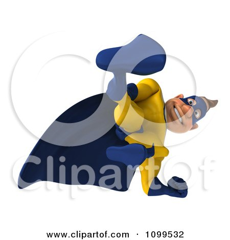 Clipart 3d Super Hero Man Looking Down - Royalty Free CGI Illustration by Julos