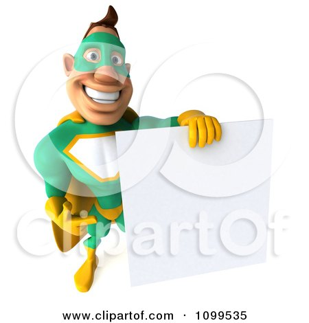 Clipart 3d Super Hero Man In A Green And Yellow Costume With A Sign 10 - Royalty Free CGI Illustration by Julos