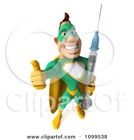 Clipart 3d Super Hero Man In A Green And Yellow Costume Holding A Vaccine Syringe 3 - Royalty Free CGI Illustration by Julos