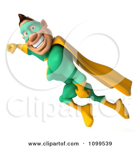Clipart 3d Super Hero Man In A Green And Yellow Costume In Flight 4 - Royalty Free CGI Illustration by Julos