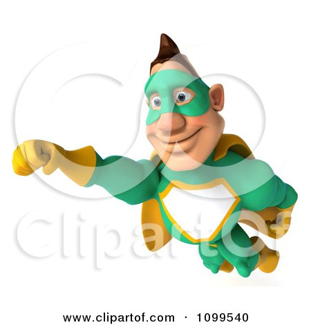 Clipart 3d Super Hero Man In A Green And Yellow Costume In Flight 5 - Royalty Free CGI Illustration by Julos