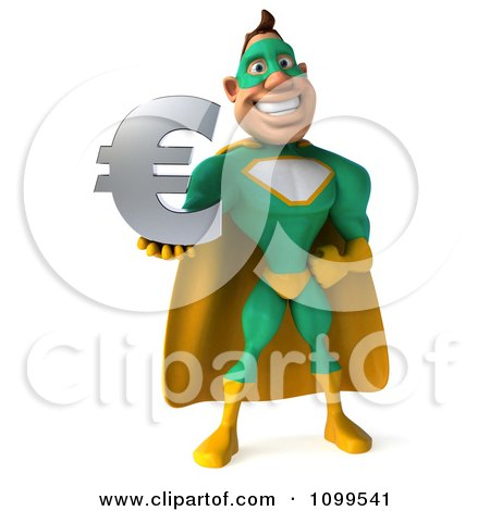 Clipart 3d Super Hero Man In A Green And Yellow Costume Holding A Euro Symbol 1 - Royalty Free CGI Illustration by Julos