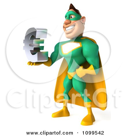 Clipart 3d Super Hero Man In A Green And Yellow Costume Holding A Euro Symbol 2 - Royalty Free CGI Illustration by Julos