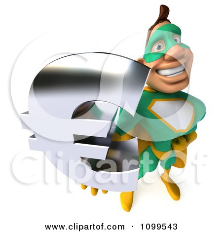 Clipart 3d Super Hero Man In A Green And Yellow Costume Holding A Euro Symbol 3 - Royalty Free CGI Illustration by Julos