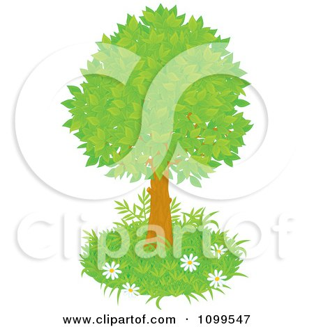 Clipart Lush Tree With Green Foliage And A Patch Of Grass With Wild Daisies - Royalty Free Vector Illustration by Alex Bannykh