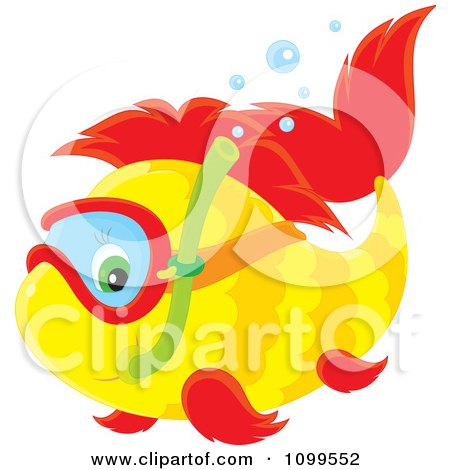 Clipart Cute Yellow And Red Snorkeling Fish - Royalty Free Vector Illustration by Alex Bannykh