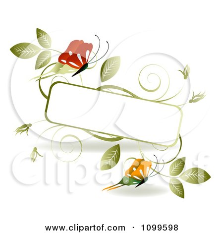 Clipart Red And Orange Butterflies With Green Vinse And A Frame With Copyspace - Royalty Free Vector Illustration by creativeapril