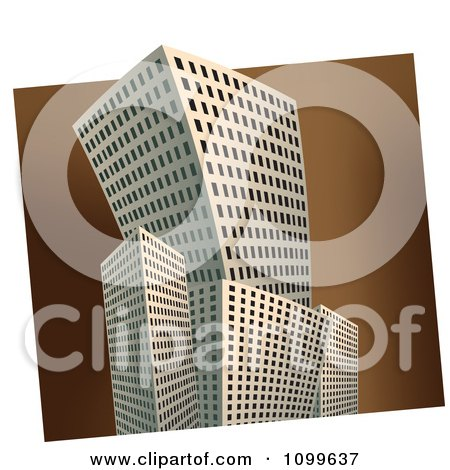 Clipart 3d Skyscraper Buildings Over A Brown Square Royalty Free Vector Illustration