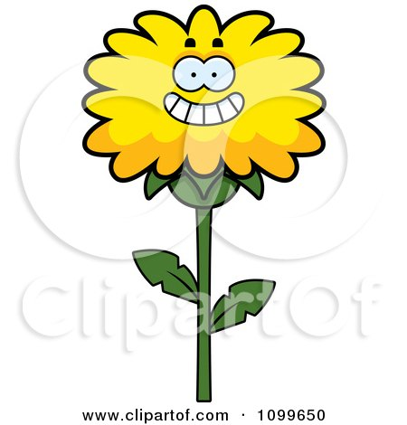 Clipart Happy Smiling Dandelion Flower Character - Royalty Free Vector Illustration by Cory Thoman
