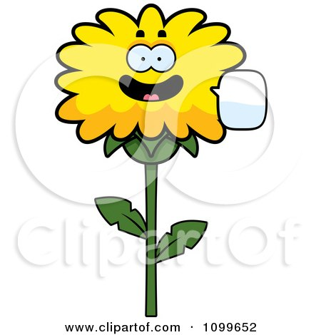 Clipart Talking Dandelion Flower Character - Royalty Free Vector Illustration by Cory Thoman