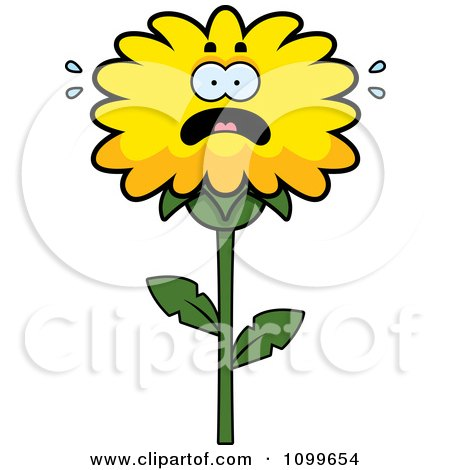 Clipart Scared Dandelion Flower Character - Royalty Free Vector Illustration by Cory Thoman
