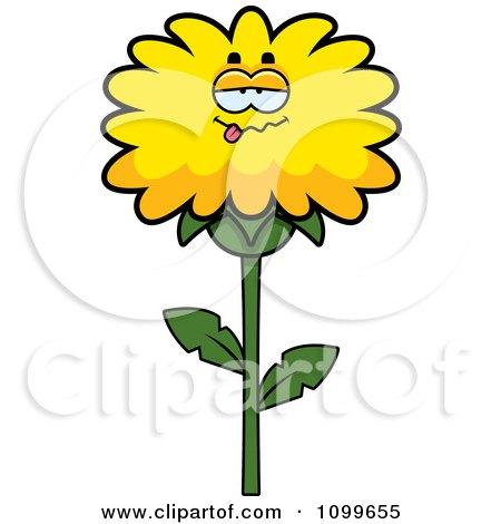 Clipart Drunk Dandelion Flower Character - Royalty Free Vector Illustration by Cory Thoman