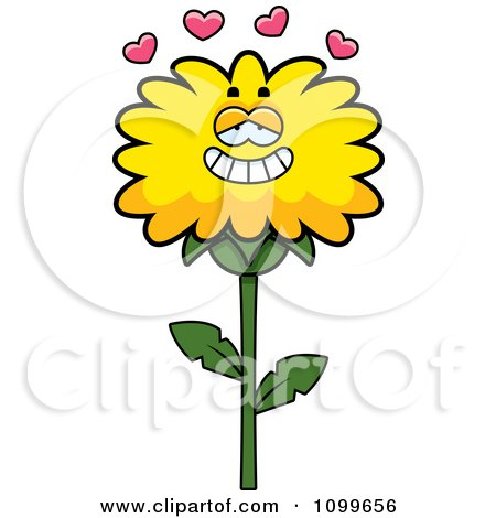 Clipart Dandelion Flower Character In Love - Royalty Free Vector Illustration by Cory Thoman