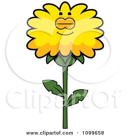 Clipart Sleeping Dandelion Flower Character - Royalty Free Vector Illustration by Cory Thoman