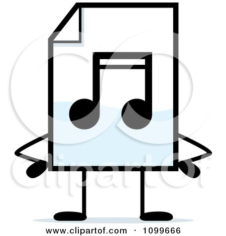Clipart MP3 Music Document Mascot With Hands On Hips - Royalty Free Vector Illustration by Cory Thoman