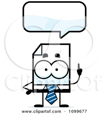 Clipart Business Document Mascot Talking - Royalty Free Vector Illustration by Cory Thoman