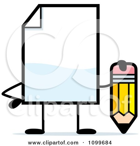 Clipart Blank Document Mascot Holding A Pencil - Royalty Free Vector Illustration by Cory Thoman