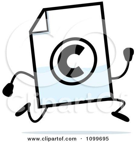 Clipart Copyright Document Mascot Running - Royalty Free Vector Illustration by Cory Thoman