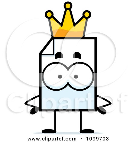 Clipart Document Mascot King - Royalty Free Vector Illustration by Cory Thoman