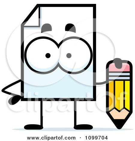 Clipart Document Mascot Holding A Pencil - Royalty Free Vector Illustration by Cory Thoman