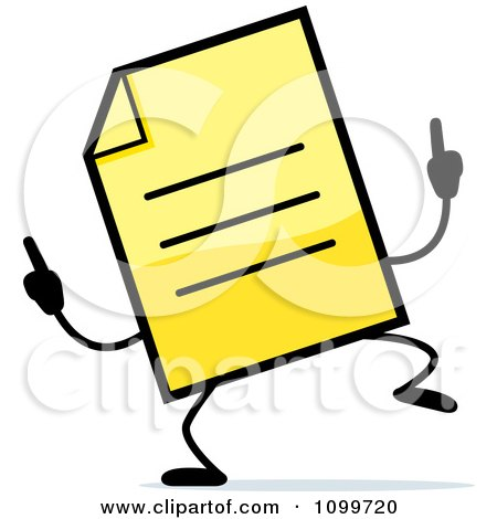 Clipart Yellow Note Document Mascot Doing A Happy Dance - Royalty Free Vector Illustration by Cory Thoman