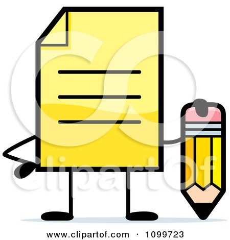 Clipart Yellow Note Document Mascot Holding A Pencil - Royalty Free Vector Illustration by Cory Thoman