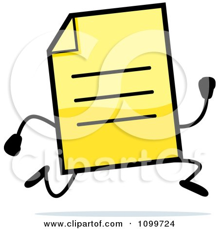 Clipart Yellow Note Document Mascot Running - Royalty Free Vector Illustration by Cory Thoman