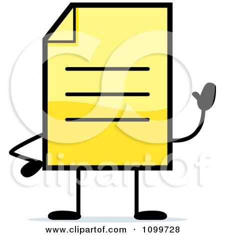Clipart Yellow Note Document Mascot Waving - Royalty Free Vector Illustration by Cory Thoman