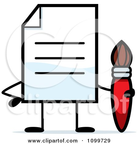 Clipart Note Document Mascot Holding A Paintbrush - Royalty Free Vector Illustration by Cory Thoman