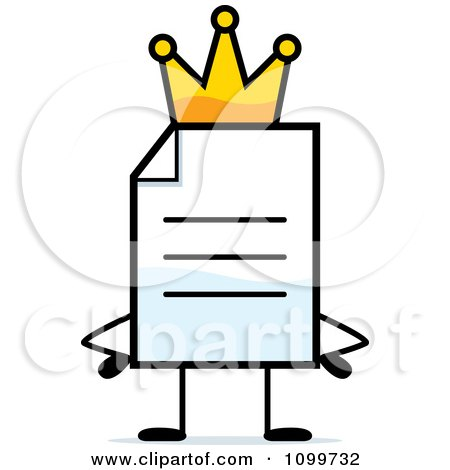 Clipart Note Document Mascot King - Royalty Free Vector Illustration by Cory Thoman