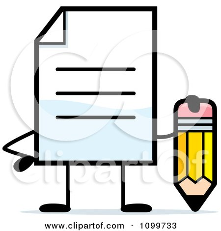 Clipart Note Document Mascot Holding A Pencil - Royalty Free Vector Illustration by Cory Thoman