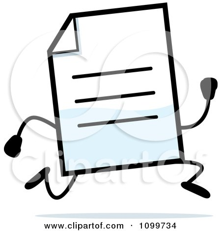 Clipart Note Document Mascot Running - Royalty Free Vector Illustration by Cory Thoman