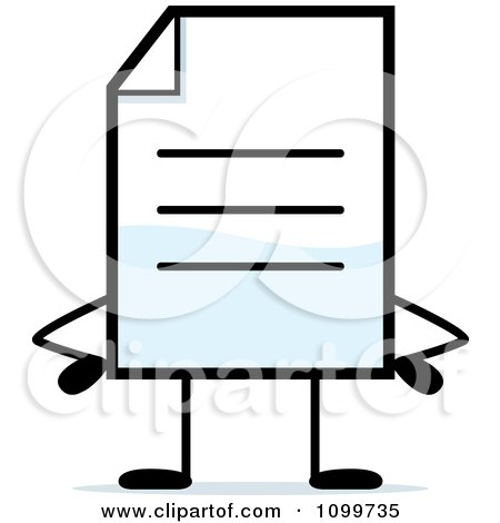 Clipart Note Document Mascot With Hands On Hips - Royalty Free Vector Illustration by Cory Thoman