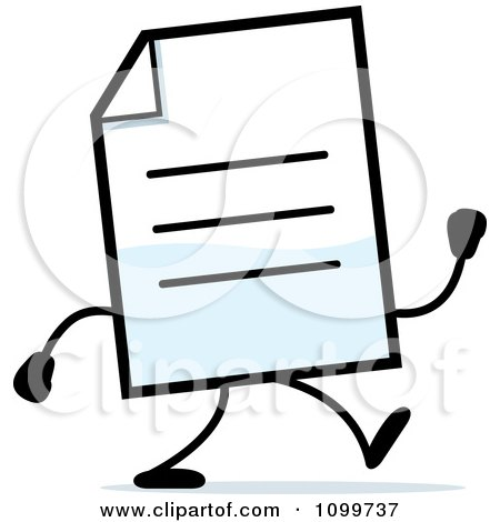 Clipart Note Document Mascot Walking - Royalty Free Vector Illustration by Cory Thoman