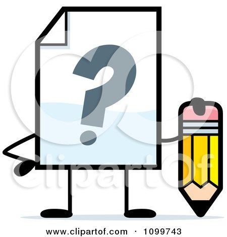 Clipart Help Document Mascot Holding A Pencil - Royalty Free Vector Illustration by Cory Thoman