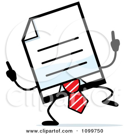 Clipart Business Document Mascot In A Red Tie Doing A Happy Dance - Royalty Free Vector Illustration by Cory Thoman