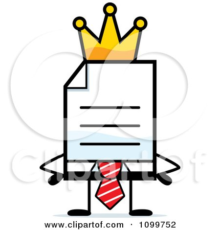 Clipart Business Document Mascot In A Red Tie King - Royalty Free Vector Illustration by Cory Thoman