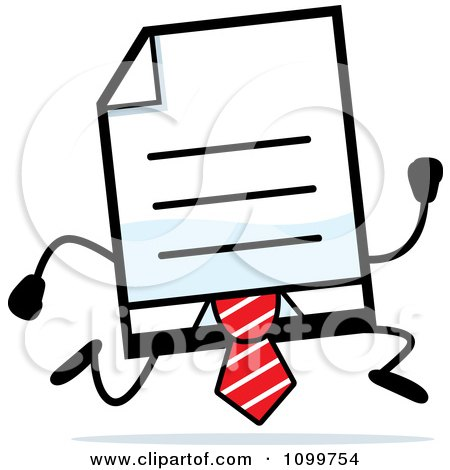 Clipart Business Document Mascot In A Red Tie Running - Royalty Free Vector Illustration by Cory Thoman