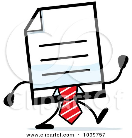 Clipart Business Document Mascot In A Red Tie Walking - Royalty Free Vector Illustration by Cory Thoman