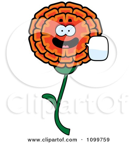 Clipart Talking Marigold Flower Character - Royalty Free Vector Illustration by Cory Thoman