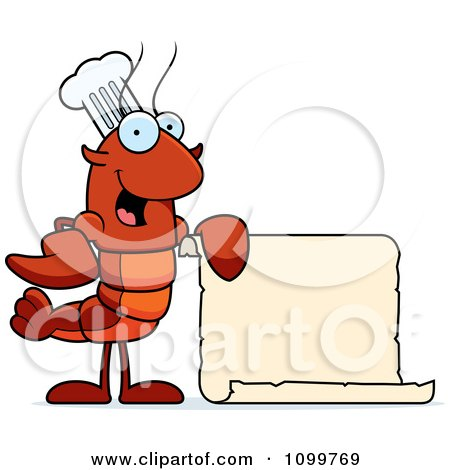 Clipart Chef Lobster Or Crawdad Mascot Character Holding A Blank Scroll - Royalty Free Vector Illustration by Cory Thoman